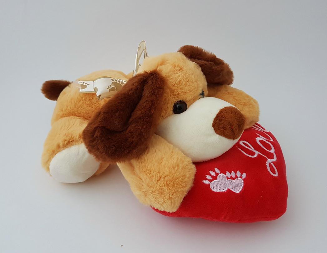 Мягкая игрушка собака с сердцем love 25 см