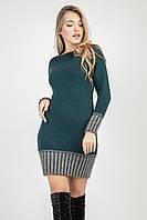 Изумрудная зимняя туника-платье шикарного фасона