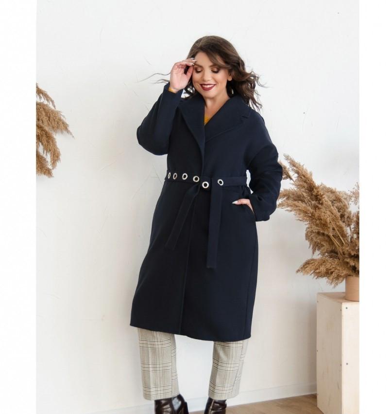 Пальто прямого кроя кашемировое №135Б-синий