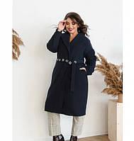 Пальто прямого кроя кашемировое №135Б-синий, фото 1