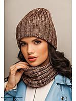 "Комплект шапка и шарф вязаные ""Женева "" коричнево-бежевый 904044, фото 1"