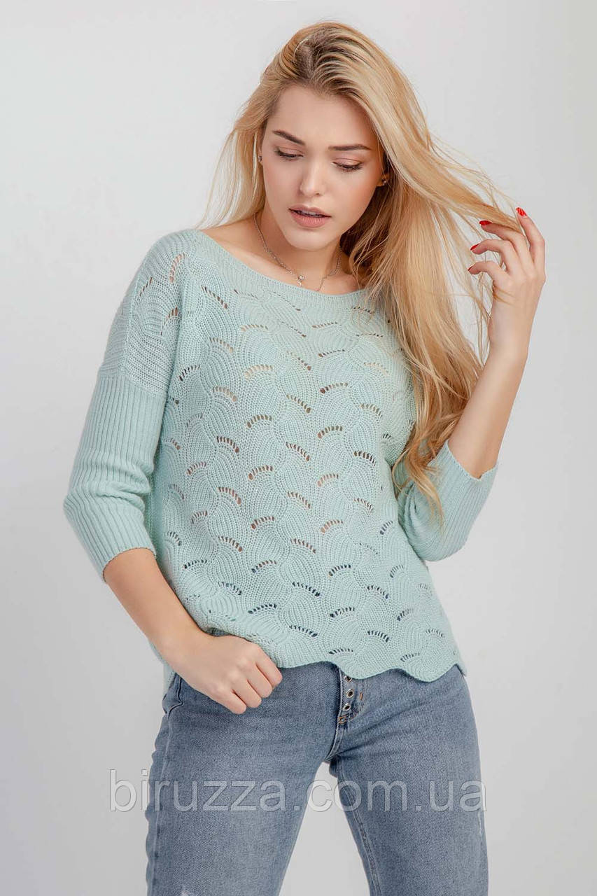 Мятный женский нарядный джемпер весна-лето-осень красивого плетения