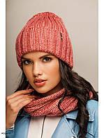 """Комплект шапка и шарф вязаные """"Женева """" коралловый 904030, фото 1"""