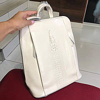 Кожаная женская сумка рюкзак молодежный бежевого цвета