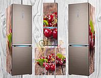 Виниловая наклейка на холодильник Вишни