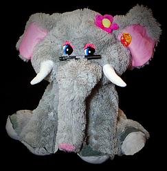 Серый сидящий плюшевый Слон 90 cм детская мягкая музыкальная игрушка