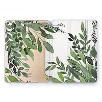 Чехол книжка, обложка для Apple iPad (Зеленые листья) модели Pro Air 9.7 10.5 11 12.9 mini 1 2 3 4 5 айпад про эйр 2017 2018 2019 case smart cover