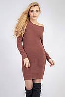 Терракотовое облегающее женское модное платье для холодной погоды