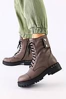Женские зимние ботинки кожаные темно-серые, фото 1