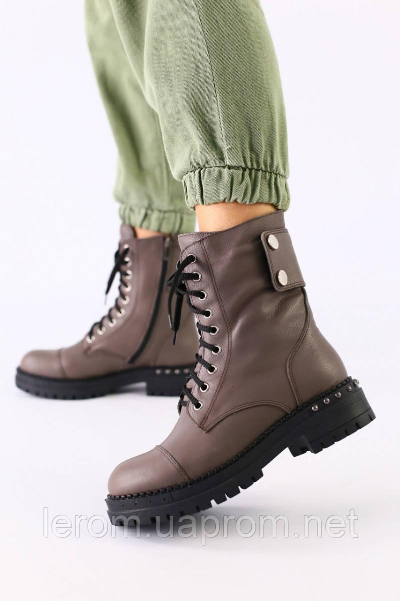 Женские зимние ботинки кожаные темно-серые