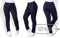Спортивные штаны женские из трехнитки на флисе ТЖ/-028 - Темно-синий, фото 1