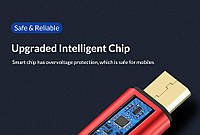 Кабель быстрой зарядки TOPK кабель Micro usb 2.4A 100см красный