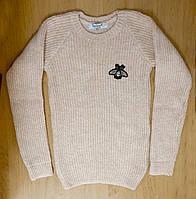 Теплый вязаный подростковый свитер для девочки