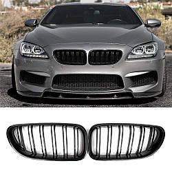 Решітки радіатора BMW F06 F12 F13 ніздрі стиль M6 (чорний глянц)