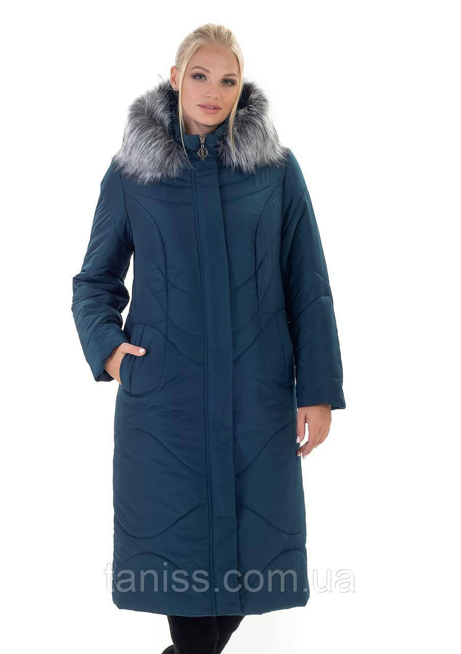 Зимний женский пуховик,с искусственным мехом, капюшон съемный, размеры 52-66,малахит(135)мех