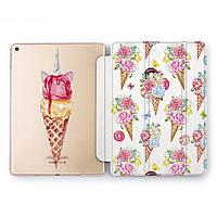 Чехол книжка, обложка для Apple iPad (Единороги и мороженое) модели Pro Air 9.7 10.5 11 12.9 mini 1 2 3 4 5 айпад про эйр 2017 2018 2019 case smart