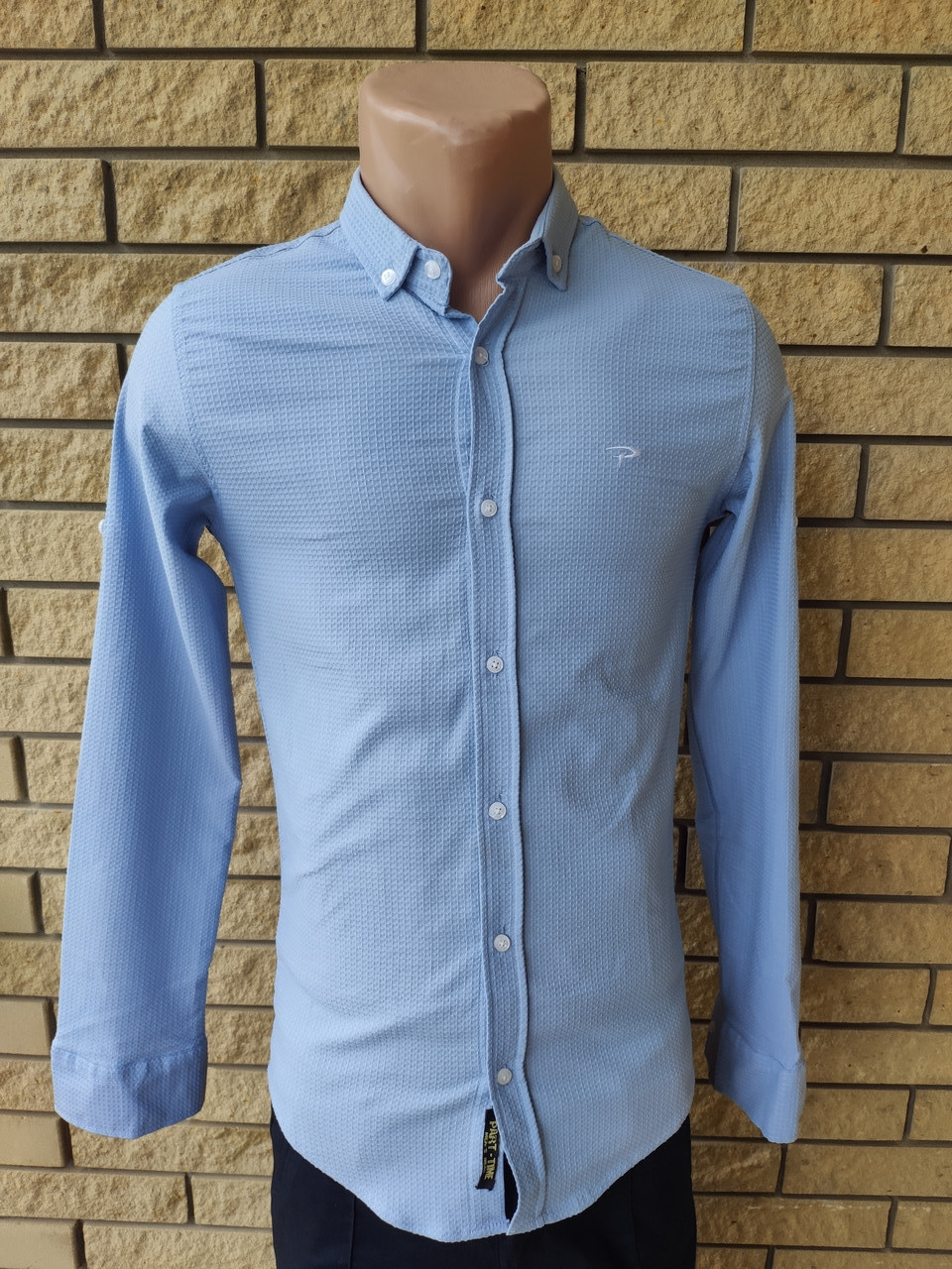 Рубашка мужская коттоновая стрейчевая брендовая высокого качества PART TIME, Турция
