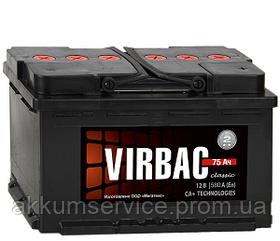 Аккумулятор автомобильный Virbac Classic 75AH R+ 570A (M2)