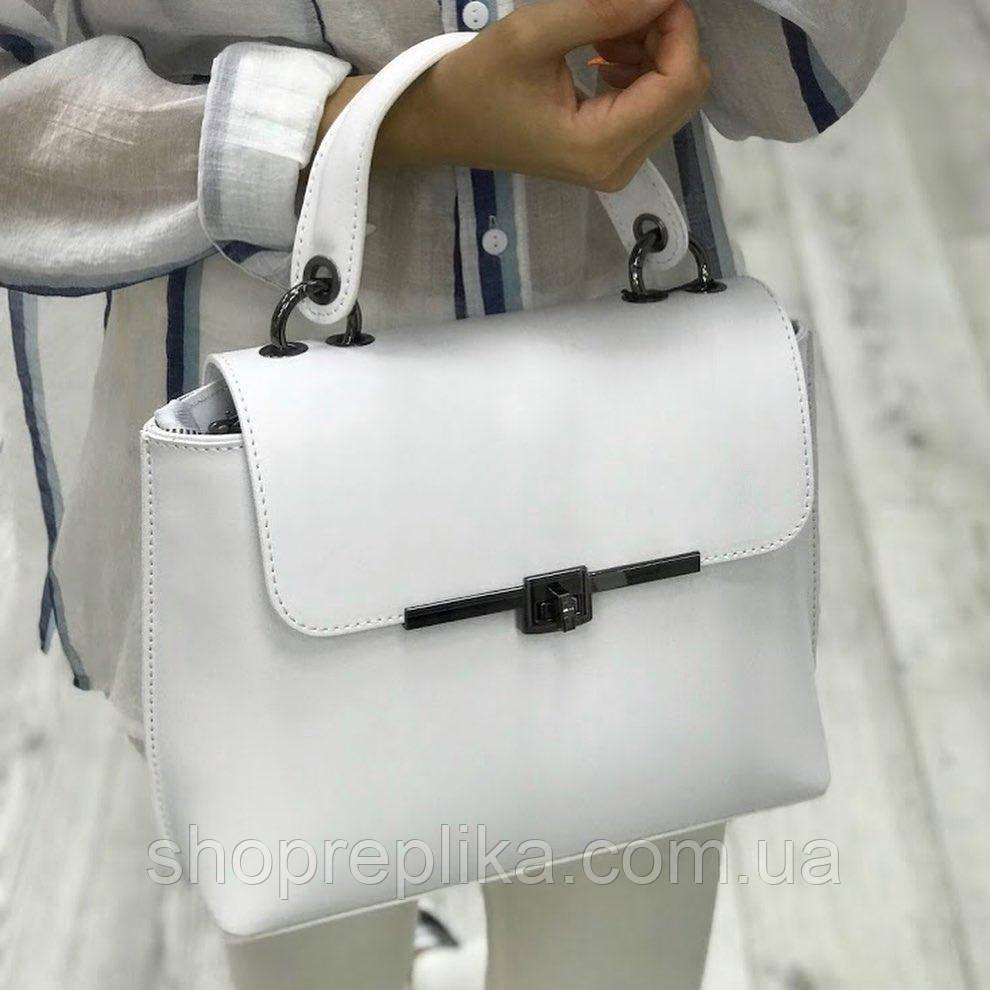 Женская кожаная сумка Италия в белом цвете Красивая кожаная малышка
