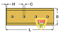 Нож ковша (режущая кромка) 885х280х25 мм Liebherr 9134452