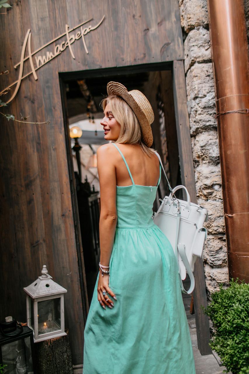 Изумительное платье (цвет - мята, ткань - лен) Размер S, M, L (розница и опт)