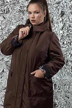 Женская двухсторонняя куртка акварель М-767 / размер 54-72 / цвет шоколад