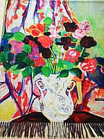 Женский  Кашемировый шарф-палантин.Картина маслом.Разноцветный. Цветы в вазе.Кашемир 190\65
