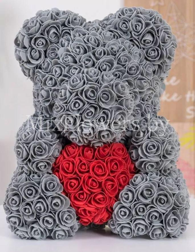Подарунковий Ведмідь 3D з троянд ведмедик Teddy Bear 40 см ведмедик з троянд