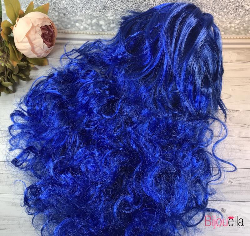 Длинный синий волнистый карнавальный парик 50 см для дополнения образа