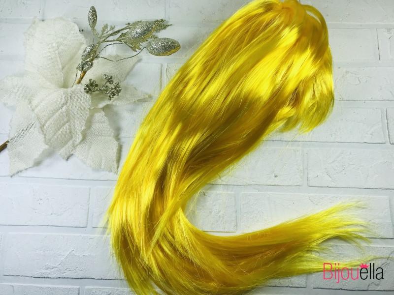 Маскарадний жовтий прямий перуку 58 см, 120 гр, на святкові вечірки