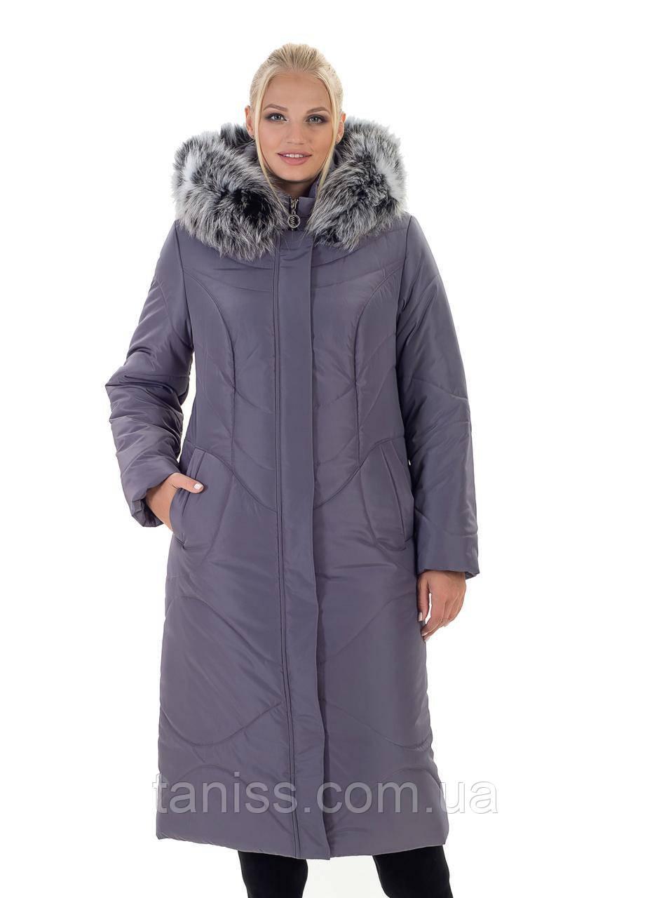 Зимовий жіночий пуховик,з натуральним хутром, знімний капюшон, розміри 48-66,лиловый135)Чбк