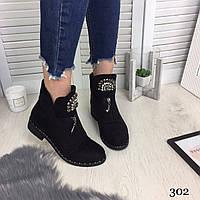 Ботинки женские с декором демисезонные чёрные эко замша //