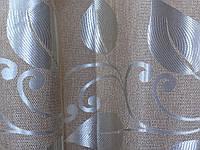 """Ткань лен с узором """"листья"""". Высота 2,8м. Цвет пудра. 367ш"""