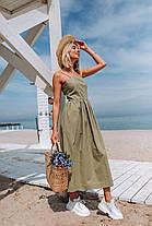Летнее длинное платье (цвет - оливковый, ткань - лен) Размер S, M, L (розница и опт)