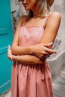 Платье на брительках (цвет - персик, ткань - лен) Размер S, M, L (розница и опт)