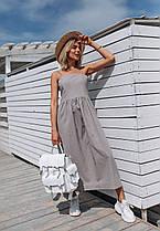 Стильное платье (цвет - серый, ткань - лен) Размер S, M, L (розница и опт)
