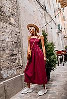 Летнее легкое платье (цвет - вишня, ткань - лен) Размер S, M, L (розница и опт)
