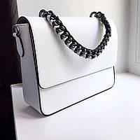 Кожаная белая женская сумка Натуральная кожа Италия Эффектная роскошная Топовая модель 100 % натуральная кожа