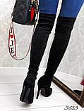 Жіночі ботфорти на шпильці еко замш, фото 2