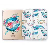 Чехол книжка, обложка для Apple iPad (Забавные киты) модели Pro Air 9.7 10.5 11 12.9 mini 1 2 3 4 5 айпад про эйр 2017 2018 2019 case smart cover
