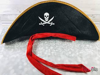 Детская шляпа Пират мягкая с черепом и красной ленточкой на новогодние утренники