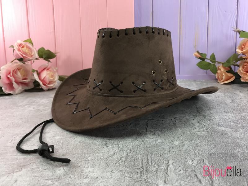 Замшевая детская шляпа Ковбой коричневая для создания образа на новогодний костюмированный праздник