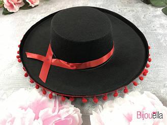 Шляпа Сомбреро с красными бубонами маленькая для мексиканской вечеринки или костюмированного праздника