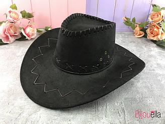 Карнавальная шляпа Ковбой черный замш, большая на новогоднюю тематическую вечеринку