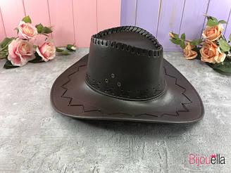 Шляпа Ковбой коричневый кожзаменитель, атрибут на тематическую вечеринку, костюмированный праздник