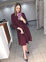 Элегантное платье (цвет - бордо, ткань - креп костюмка класса люкс) Размер S, M, L (розница и опт)
