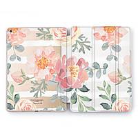 Чехол книжка, обложка для Apple iPad (Нежные цветы, акварель) модели Pro Air 9.7 10.5 11 12.9 mini 1 2 3 4 5 айпад про эйр 2017 2018 2019 case smart
