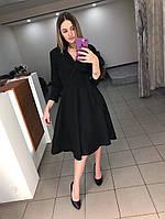 Классическое платье (цвет - черный, ткань - креп костюмка класса люкс) Размер S, M, L (розница и опт)