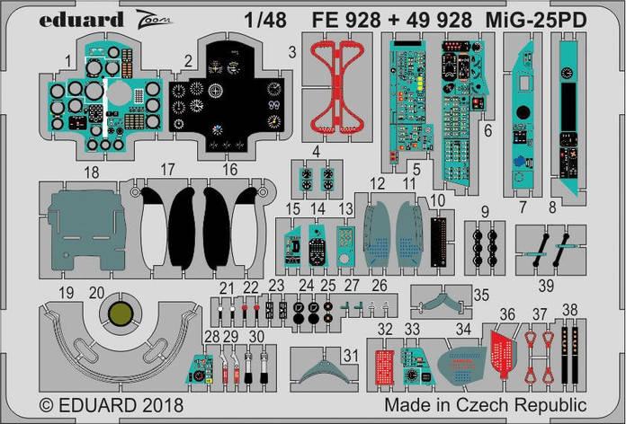 Набор фототравления для Миг-25ПД. 1/48 EDUARD FE928, фото 2