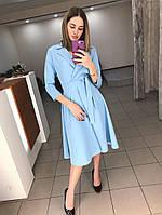 Платье классика (цвет - голубой, ткань - креп костюмка класса люкс) Размер S, M, L (розница и опт)